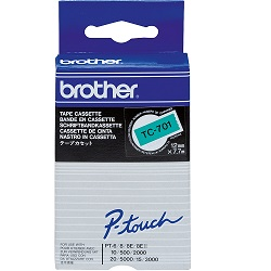 Brother TC-701 Black on Green Tape (Genuine)